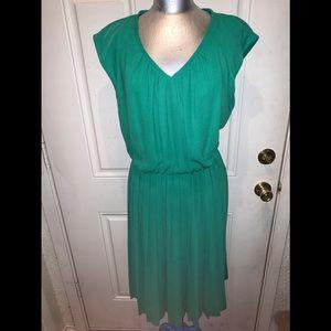 Pleated Green Dress